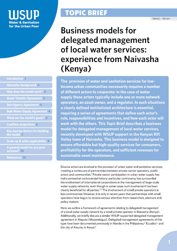 Business Models For Delegated Management Of Local Water Services