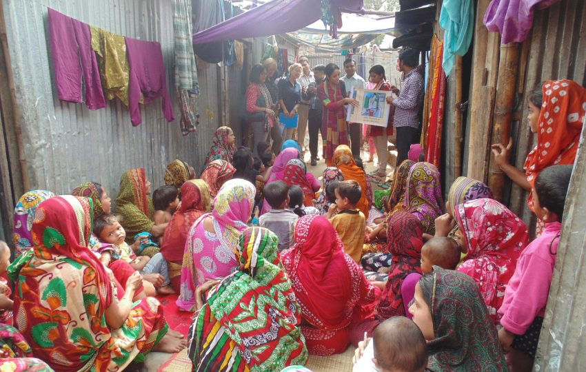 Hygiene session in a low-income community in Dhaka