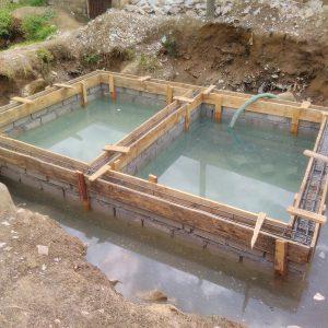 Kanyama flooded pit latrine in construction
