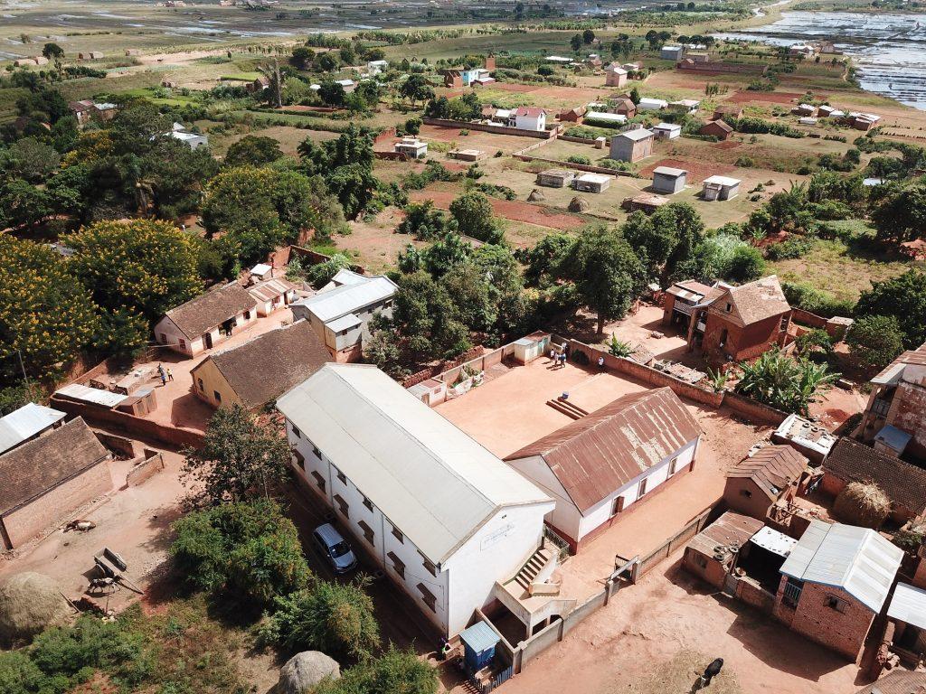 Aerial footage of school