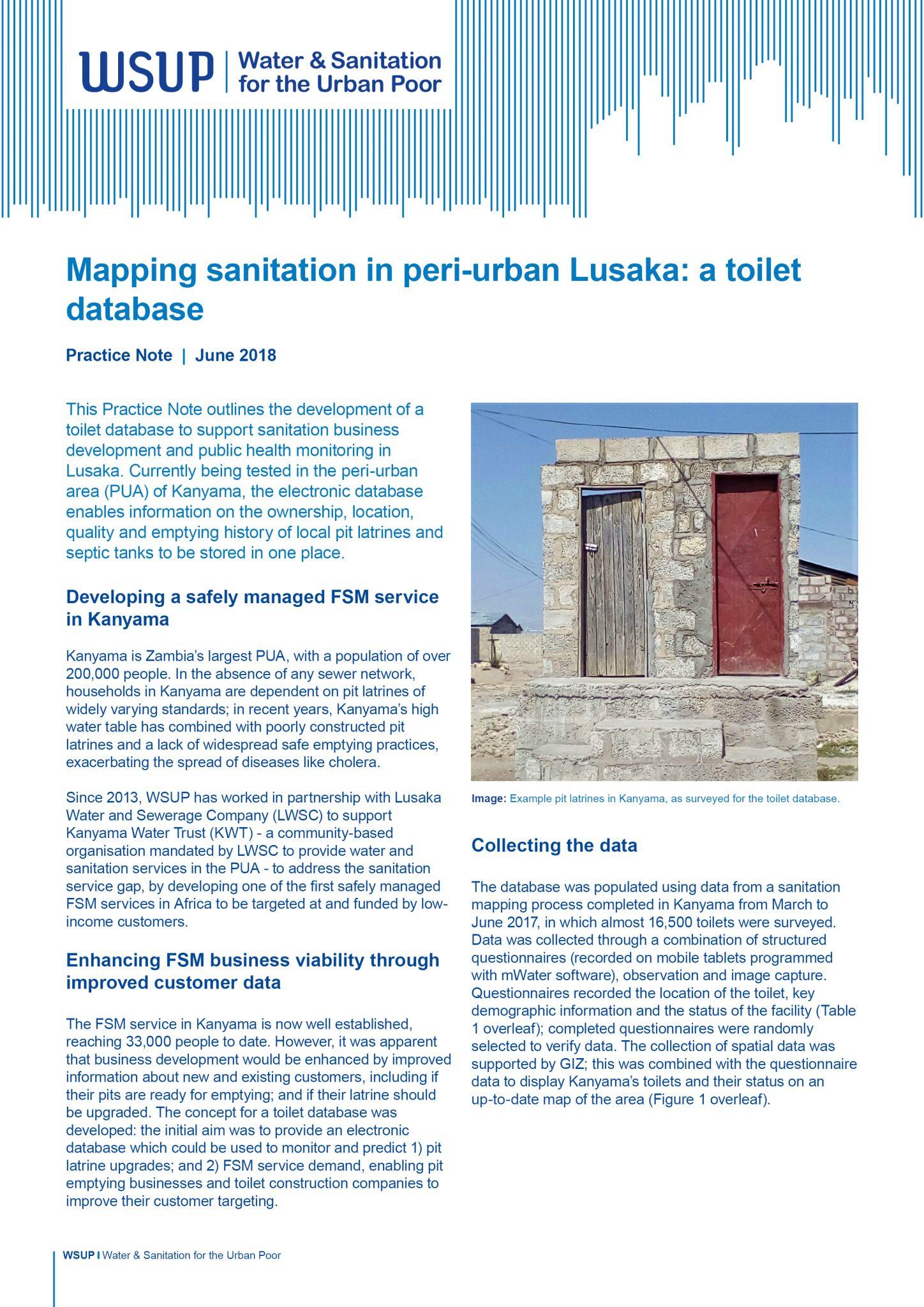 Mapping sanitation in peri-urban Lusaka: a toilet database – Water ...