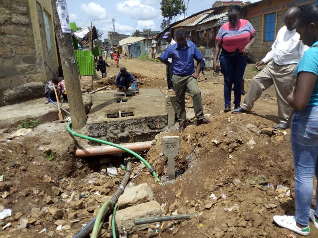 Working with @NairobiWater engineers to map out 4km of new pipeline in Mwengenye, #Nairobi