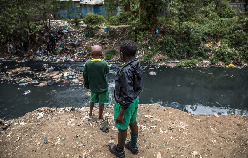 Polluted river in Biafra, Nairobi