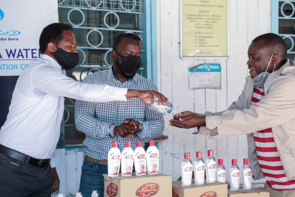 Mombasa Water receive donation of handsanitiser