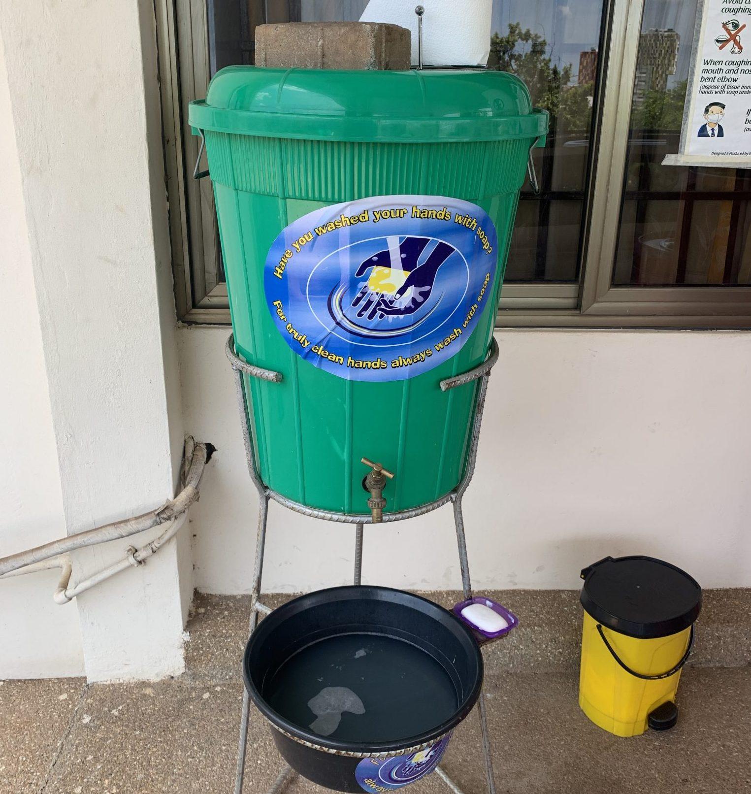 Handwashing basin set up by CWSA